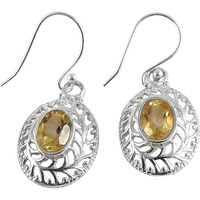 Bold Vintage Energetic ! Citrine 925 Sterling Silver Earrings