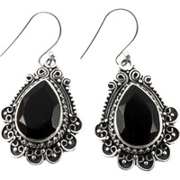 Classy Design!! Black Onyx 925 Sterling Silver Earrings