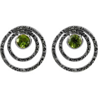 Big Weaving Light! Peridot 925 Sterling Silver Earrings