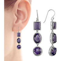 Circle Of Love!! 925 Sterling Silver Amethyst Earrings