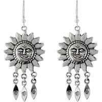 Sun Design !! 925 Sterling Silver Earrings
