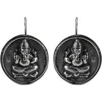 Oxidized 925 Sterling Silver Ganesh Earrings