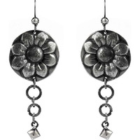 Sun Flower Style 925 Sterling Silver Earrings