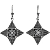 Four Corner Oxidized 925 Sterling Silver Earrings