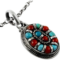 New Faceted!! Coral, Turquoise 925 Sterling Silver Pendant