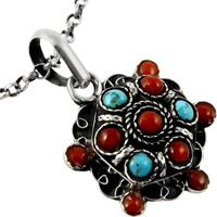 New Style Of!! Coral, Turquoise 925 Sterling Silver Pendant