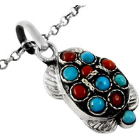 Island Fantasy!! Coral, Turquoise 925 Sterling Silver Pendant