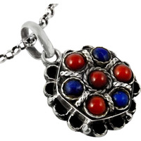 Beautiful!! Coral, Lapis 925 Sterling Silver Pendant