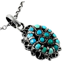 Beautiful Design!! Turquoise 925 Sterling Silver Pendant
