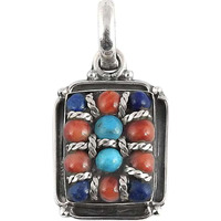 Paradise Bloom!! Coral, Turquoise, Lapis 925 Sterling Silver Pendant