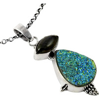 New Fashion Design! Drusy, Labradorite 925 Sterling Silver Pendants