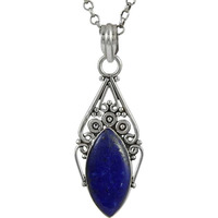 Big Natural !! 925 Sterling Silver Lapis Pendant