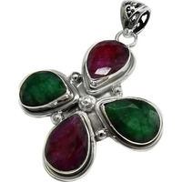 Flower Design 925 Sterling Silver Ruby & Emerald Pendant