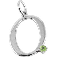 Peridot Gemstone 925 Sterling Silver O Letter Pendant