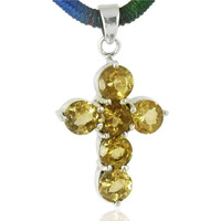 Tropical Glow 925 Sterling Silver Citrine Cross Pendant