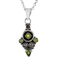 Excellent !! 925 Sterling Silver Amethyst, Peridot Pendant