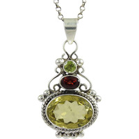 Big Weaving Light! 925 Sterling Silver Lemon Topaz, Garnet, Peridot Pendant