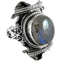 Royal Style! Labradorite 925 Sterling Silver Rings