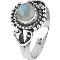Delicate! 925 Silver Rainbow Moonstone Ring