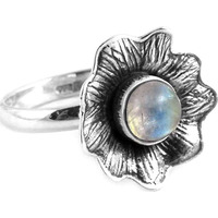 Big Natural Top! 925 Silver Rainbow Moon Stone Ring
