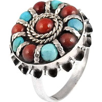 Big Falling In Love!! Coral, Turquoise 925 Sterling Silver Ring