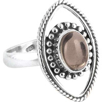Circle Of Hope!! Smoky Quartz 925 Sterling Silver Ring