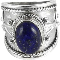 Two Tones Royal Dark!! Lapis 925 Sterling Silver Ring