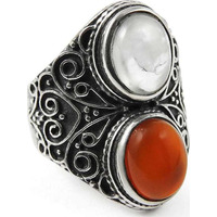 Exclusive!! Rainbow Moonstone, Carnelian 925 Sterling Silver Ring