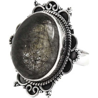 Fantastic! Black Rutile 925 Sterling Silver Rings