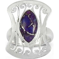 Fantastic Quality Of ! 925 Sterling Silver Purple Copper Turquoise Ring