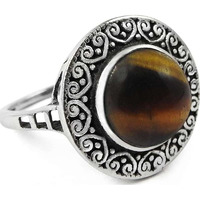 Good Fortune!! Tiger Eye 925 Sterling Silver Ring