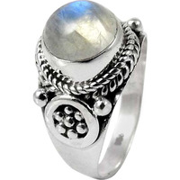Passionate Love!! Rainbow Moonstone 925 Sterling Silver Ring