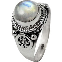 Huge Modern Style!! Rainbow Moonstone 925 Sterling Silver Ring