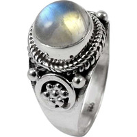 Fine!! Rainbow Moonstone 925 Sterling Silver Ring