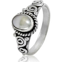 Fine ! 925 Sterling Silver Pearl Ring