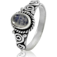 Royal Style ! 925 Sterling Silver Rainbow Moonstone Ring