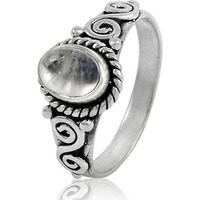 Large Stunning ! 925 Sterling Silver Rainbow Moonstone Ring