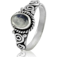 New Design ! 925 Sterling Silver Rainbow Moonstone Ring