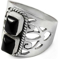 Big Secret Created ! 925 Sterling Silver Black Onyx Ring