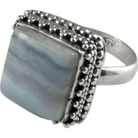 Pale Beauty!! Blue Lace Agate 925 Sterling Silver Ring