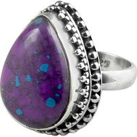 Natural!! Purple Copper Turquoise 925 Sterling Silver Ring