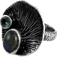 Lively!! Labradorite, Blue Topaz 925 Sterling Silver Ring