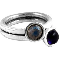 Mischief-Maker!! Amethyst , Rainbow Moonstone 925 Sterling Silver Ring