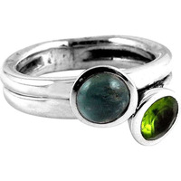 Ostensible!! Aquamarine, Peridot 925 Sterling Silver Ring