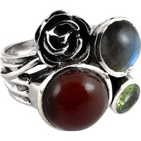 Pleasing!! Labradorite, Peridot, Carnelian 925 Sterling Silver Ring