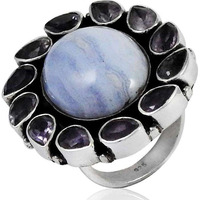 Stylish Design !! 925 Sterling Silver Blue Lace Agate, Amethyst Ring