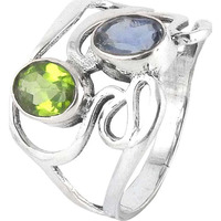 Blooming Garden !! Peridot, Iolite 925 Sterling Silver Ring