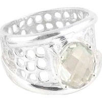 Very Delicate !! Green Amethyst 925 Sterling Silver Ring