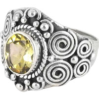 Stunning Natural Rich! Citrine 925 Sterling Silver Rings