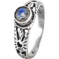 Excellent! Rainbow Moonstone 925 Sterling Silver Ring